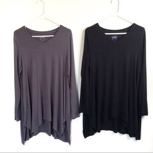 LOGO Layers Knit Top Side Slits Asymmetric Hem